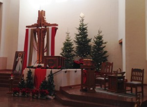 The Christmas altar at our neighborhood church Santa Maria de la Paz.