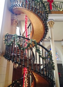 The Miraculous Stair, a helix-shaped staircase mysteriously built by someone the Sisters of Loretto believed to be St. Joseph. The banister was a later addition.