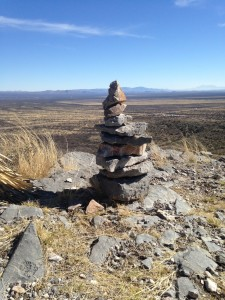 We found a cairn at the top of the mountain we climbed at the state park. I love it when we stumble upon these!