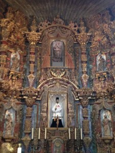 The Apse (curved wall) in the Chancel (front part of church from where the service is conducted) of Mission San Xavier del Bac.