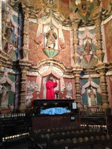 Many pilgrims come to pray to San Xavier at the mission.
