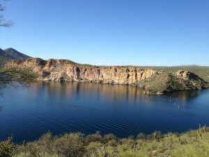 A view of Saguaro Lake during our hike with Brian and Shanna.