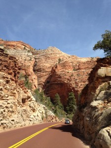 As you drive east through Zion, you can just see enormous ancient sand dunes that have turned to stone.
