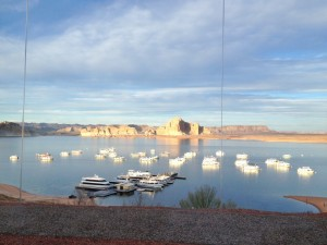 Our view during dinner at sunset in the Rainbow Room at the Lake Powell Resort Lodge.