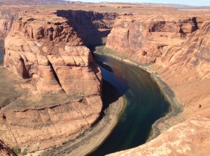 I needed a wide-angle lense to get a full shot of Horseshoe Bend. Since I only had my iphone, you get to see one half of the view!