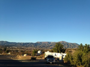 The view from my office window. Prescott, Arizona is on the other side of those mountains.