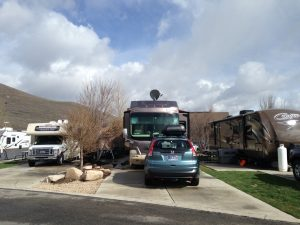 We stayed at Park City RV Resort, which was neither a Resort or in Park City. It was directly on I-80 at the Kimball Junction interchange. We were about 20 minutes from historic downtown Park City. Our spot, A3, was a little tight.