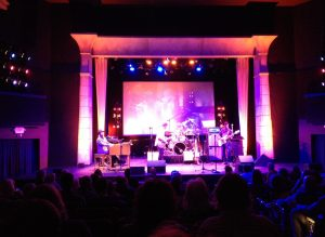 The stage inside the Egyptian Theater. Mr. Jones is best known as the front man for the band Booker T & the MG's.