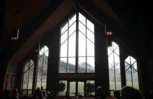 Inside St. Mary's Catholic Church. It sits out on a meadow and the windows take in the glory of the mountain vista to the southwest.