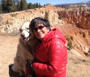 Me and my dog. There was one paved trail in the park where dogs were allowed, so Cessna and Piper were happy they got to see the hoodoos too.