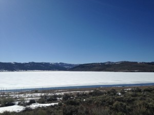 We drove home from Bryce on Hwy 143 and passed by Panguitch Lake. The edges were starting to thaw, but the middle of the lake was still frozen.