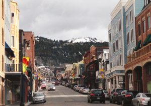 Park City Main Street with its springtime street banners flying on the light poles.
