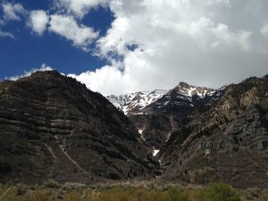 A view from the trail near Bridal Veil Falls, looking toward the Timpanogos.