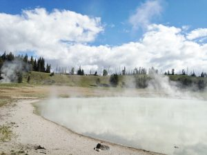 Yellowstone National Park is so interesting because there are millions of acres of valleys and meadows and mountains... and then at random, there are these bubbling cauldrons of hot liquids and gases simmering at the earth's surface.