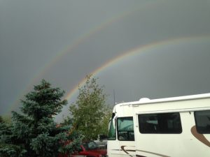 A double rainbow appeared as we were setting up in Missoula. The universe telling me I worry too much.