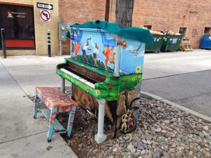 Random street piano between a parking lot and an alley. I can't tell you how many times I walked by with someone different playing a tune.