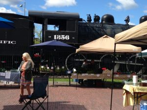 The Missoula Farmer's market is set around the historic depot area and these classic trains are the backdrop for the vendors. When you add the brick streets into the mix, the atmosphere is very charming.