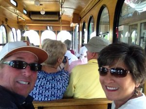 Trolley selfie. I usually go on these excursions alone, so I was astonished when it was Mike's idea to buy tickets for the local tour. A history teacher from Butte High School was our guide, and it was a very informative hour!