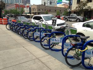Downtown Boise has a bike share program. I love those!
