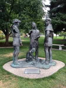 A Lewis and Clark statue on the Idaho Capitol grounds.