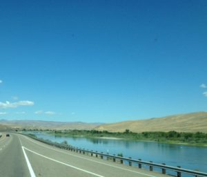 The Snake River along the highway in Oregon. Idaho is on the other side of the water.