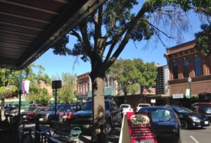 My sidewalk patio view on downtown Walla Walla.