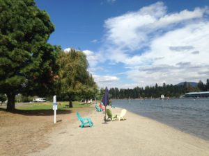 The north end of Lake Coeur d'Alene drains into the Spokane River. Our campground was located where those two bodies of water merged. We even had our own little beach to enjoy.