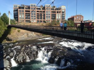 One of the bridges over Spokane Falls in downtown Spokane.