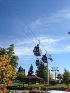 We saw a chairlift in downtown Park City, Utah, but this is the first downtown I've encountered with its own gondola system.