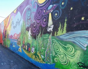 This crazy mural in downtown Sandpoint featured UFO's, Big Foot and lake monsters.