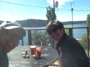 Bloody Mary's and beer in Harrison after our gorgeous bike ride.